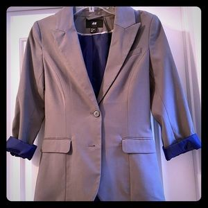 H&M Grey Blazer with Blue Lining Size 4 Career